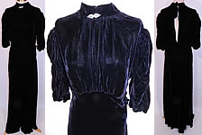 Vintage Black Silk Velvet Rhinestone Pin High Neckline Bias Cut Evening Gown Dress
