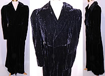 1940s Vintage Black Velvet Quilted Long Floor Length Evening Coat & Cropped Jacket