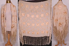 Vintage Antique Cream Silk Floral Embroidered Fringe Boho Wedding Piano Shawl