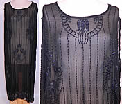Vintage Art Deco Black Sheer Silk Chiffon Beaded Tulip Flower Flapper Dress