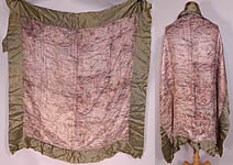 Vintage Antique Art Deco Green Silk Silver Lamé Abstract Flapper Shawl