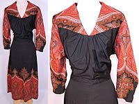 1940s Vintage Antique Red Orange Paisley Shawl Black Wool Custom Dress