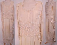 Edwardian Cream Silk White Beaded Rosette Belted Wedding Gown Dress