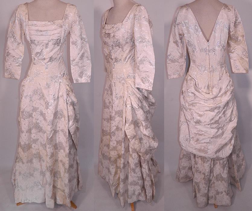 Vintage Vogue Couturier Design Silver Lame Brocade Sheath