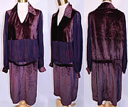 Vintage Aubergine Silk Velvet Embroidered Applique Trim Drop Waist Dress
