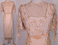 Titanic Edwardian Ecru Raw Silk Soutache Rope Lacing Corset Dress