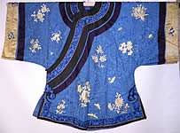 Antique Chinese Blue Silk Embroidered Insect Gourd Peach Floral Longevity Robe