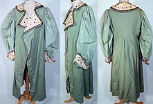 Edwardian Mint Green Wool Black Velvet White Lace Trim Winter Traveling Coat