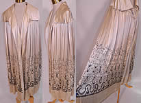 Vintage Art Deco Cream Silk Pleated Black Embroidered Evening Flapper Cloak Cape
