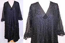 Vintage Black Silk Net Sequin Beaded Drop Waist Flapper Dress Large Size