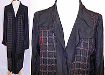 Vintage Art Deco Black Silk Gold Lamé Beaded Grid Evening Flapper Coat Jacket