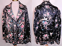 Vintage Antique Chinese Black Silk Pastel Embroidered Bird Piano Shawl Jacket