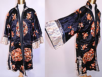 Antique Chinese Silk Embroidered Peach Peony Flower Sleeve Band Cuff Robe Coat