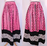 Vintage European Embroidered Woven Wool Pink Hearts Boho Maxi Skirt Folk Costume