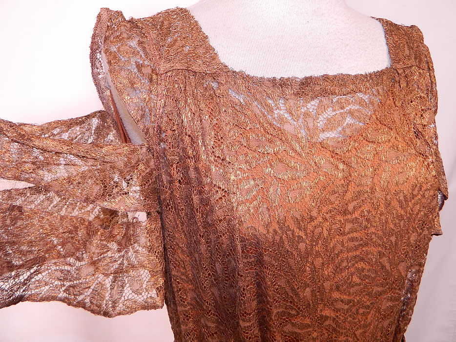Vintage Copper Lam 233 Lace Belted Peplum Evening Gown Dress