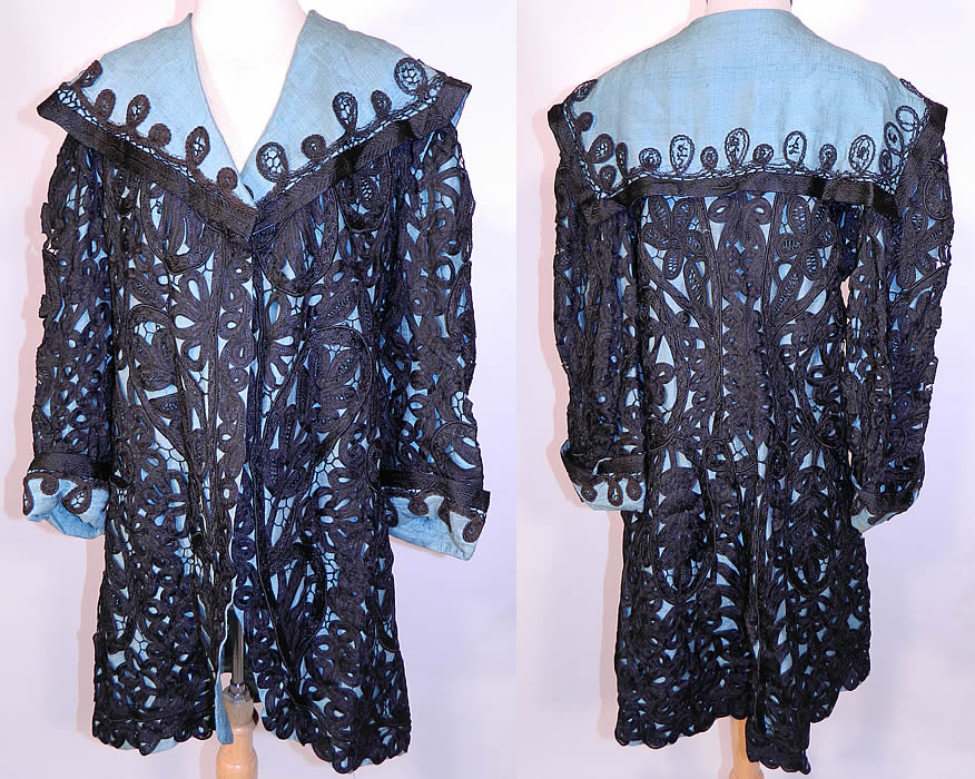 Edwardian Turquoise Blue & Black Silk Battenburg Tape Lace Coat Jacket. This exquisite Edwardian era antique turquoise blue and black silk Battenburg tape lace coat jacket dates from 1910. It is made of a turquoise blue raw silk fabric lining, with a black silk Battenburg tape lace overlay.