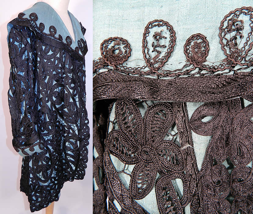 Edwardian Turquoise Blue & Black Silk Battenburg Tape Lace Coat Jacket. It is in excellent condition. This is  an exceptional beautifully hand made unique one of a kind coat, and a rare find of wearable antique textile lace art!