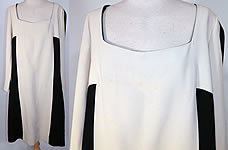 1960s Vintage Mr Blackwell Design Black & White Mod Color Block Silk Shift Dress