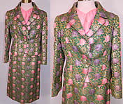 1960s Vintage Christian Dior Floral Lamé Lame Suit Jacket Skirt & Pink Silk Blouse