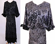 1930s Vintage Black Floral Burnout Voided Velvet Silk Bias Cut Evening Gown Dress