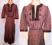 Edwardian Brown Silk Damask Floral Brocade Embroidered Lace High Collar Dress Gown