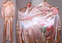 Vintage Pink Satin Tulip Water Color Pastel Print Peignoir Dressing Gown Belted Robe