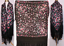 Antique Vintage Black Silk Floral Roses Pastel Embroidered Canton Piano Shawl
