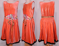 Vintage Coral Velvet Pastel Rosette Gold Lame Ribbon Belted Drop Waist Flapper Dress