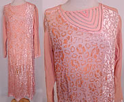 1920s Vintage Art Deco Pink Pastel Silk Burnout Voided Velvet Drop Waist Flapper Dress
