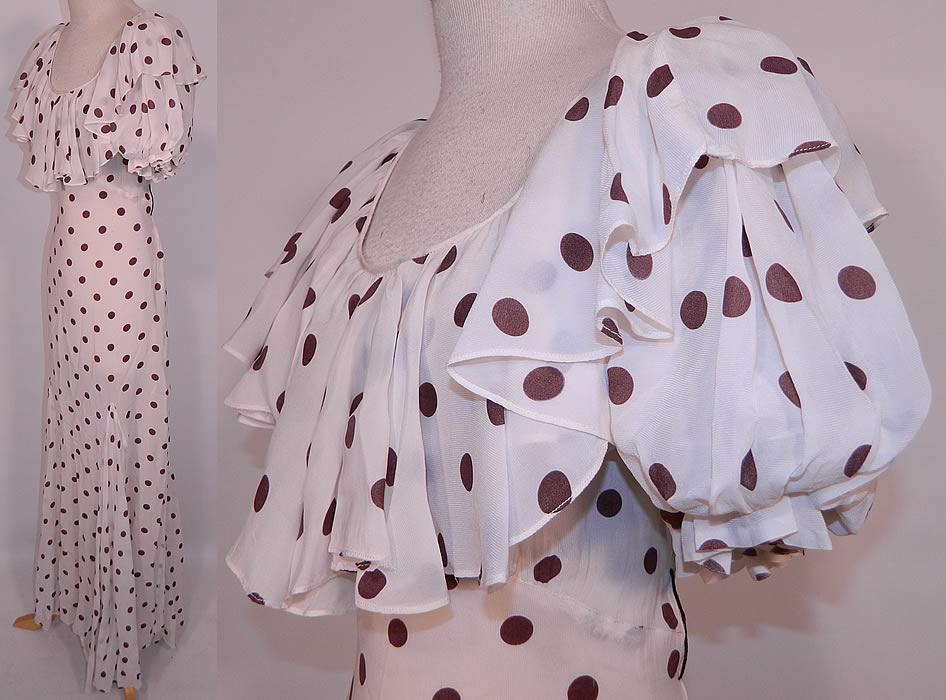 Vintage Brown Amp White Polka Dot Print Silk Ruffle Flounce