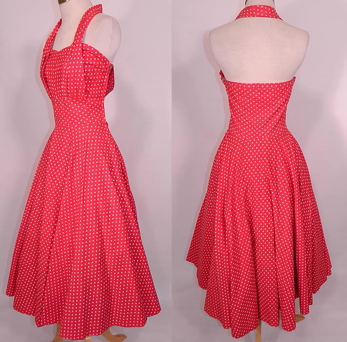 Red cotton halter dress