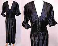 Vintage 1940s Black Silk Satin Corset Lace-up Front Neckline Evening Gown Dress