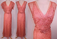 Vintage 1930s Pink Floral Cut Work Lace Belted Bias Cut Gown Dress Slip Bolero Jacket