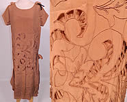 1920s Vintage Beige Silk Soutache Cut Work Lace Drop Waist Shift Dress & Slip