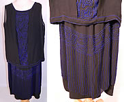 Art Deco Vintage 1920s Black Silk Cobalt Blue Beaded Drop Waist Flapper Dress