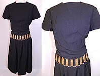 1960s Vintage Christian Dior Paris Boutique Gold Chain Link Belted Black Cocktail Dress