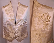 Victorian Gentlemen's White Silk Damask Floral Brocade Wedding Waistcoat Vest