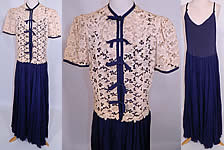 1940s Vintage Navy Blue Silk Chiffon Slip Dress Gown & Ecru Lace Jacket Blouse Top