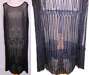 1920s Vintage Art Deco Black Sheer Silk Chiffon Beaded Grape Leaf Flapper Dress