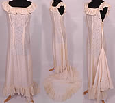 Vintage 1950s Eyelet Cream Silk Hawaiian Muumuu Wedding Gown Dress Train Skirt