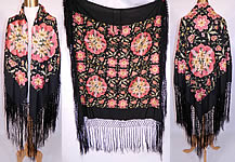 Antique Vintage Black Silk Floral Pastel Embroidered Flapper Boho Piano Shawl