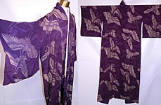 Vintage Japanese Geisha Purple Silk Silver Crane Mon Family Crest Formal Kimono