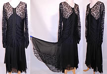 1920s Vintage Black Silk & Lace Handkerchief Skirt Drop Waist Flapper Dress