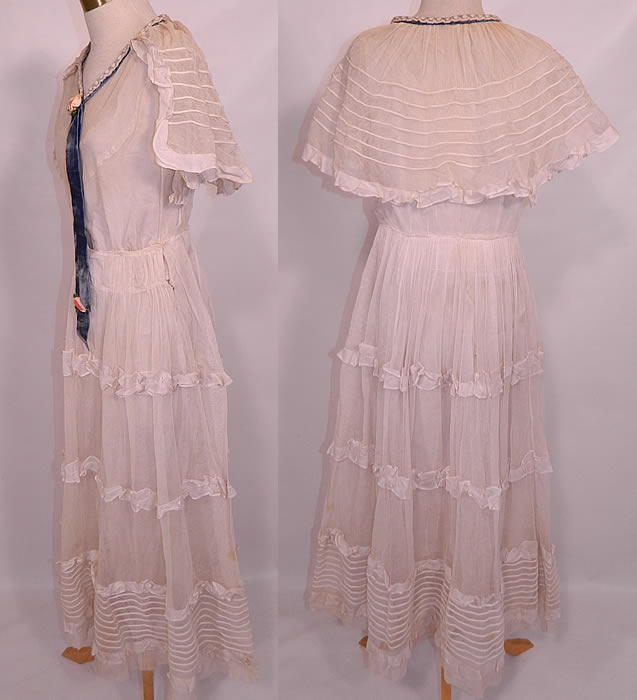 Vintage Crinoline Maid Edwardian White Net Lace Ruffle
