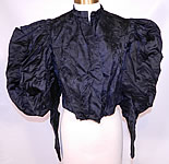 Victorian Black Silk Damask Brocade Gigot Mutton Sleeve Shirt Bodice