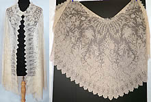 Rare Victorian Civil War Antique Blonde Chantilly Lace Mantilla Shawl Cloak Cape