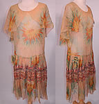 1920s Vintage Yellow Marigold Flower Print Silk Chiffon Lace Skirt Drop Waist Dress