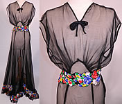 1940s Vintage Sheer Black Chiffon Floral Print Silk Trim Belted Bias Cut Gown Dress