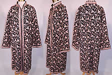 Vintage Black Wool Pink Chain Stitch Crewel Work Embroidery Ethnic Coat Jacket