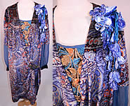 Vintage Embellished Colorful Blue Floral Print Velvet Drop Waist Flapper Dress